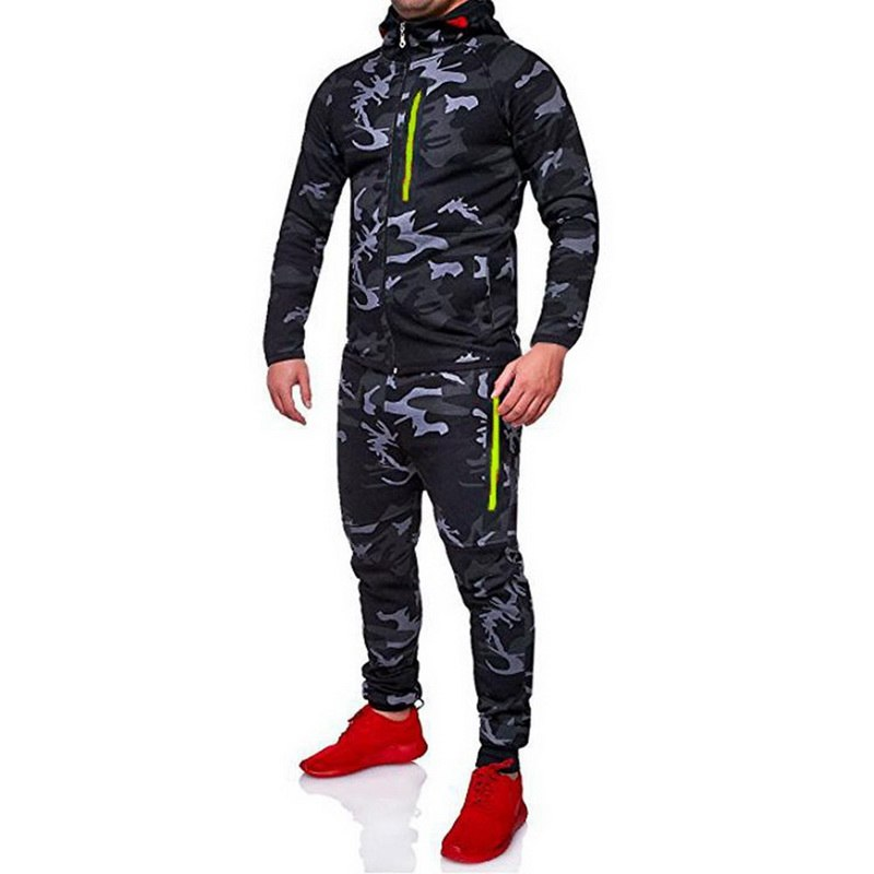 Oeak Camouflage Men's Hoddies Tracksuit Men Set Hooded Sporting Set Male Tops Sweatshirts Hoodies Pants Spring Coats Sportswear