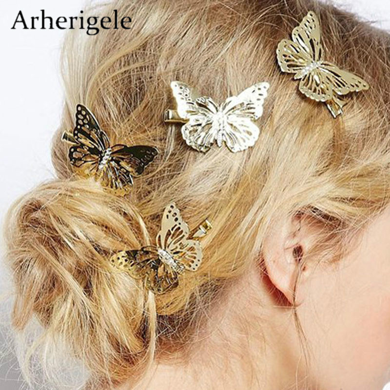 Arherigele 6pcs Golden Butterflies Hair Clips Headdress for Women Hair Accessories Metal Hairpins Barrettes for Girls   Headwear