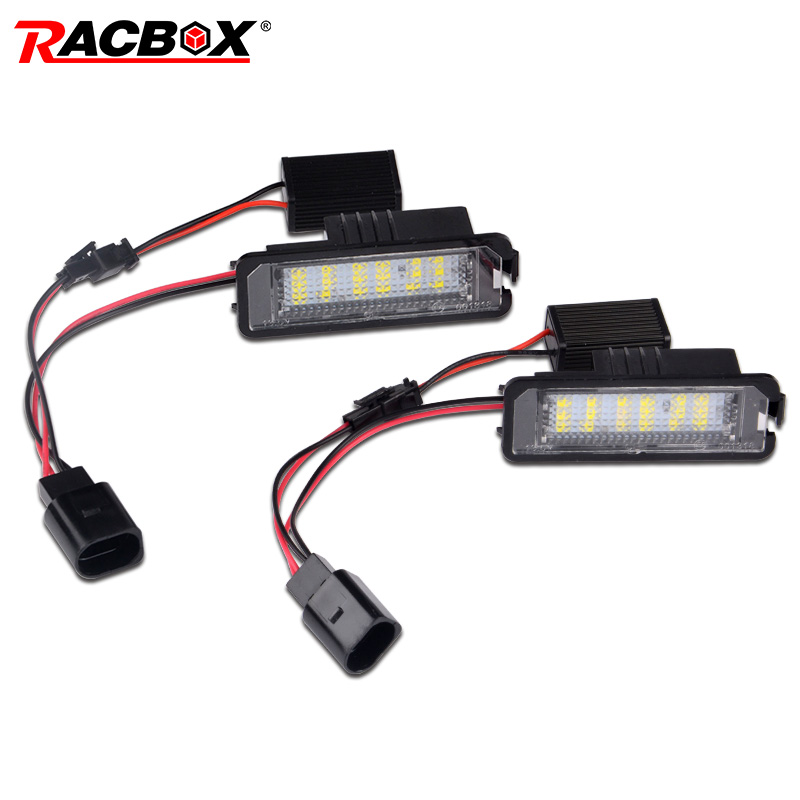 RACBOX 2Pcs LED License Plate Light Lamps for Golf 4 5 6 7 Polo Passat Phaeton 12V Car License Plate Lights Exterior Accessories