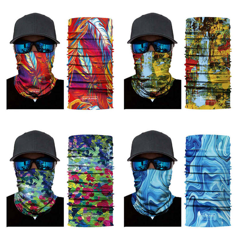 Multi-function Scarf Headband Face Mask Neck Protector For Fishing Camo