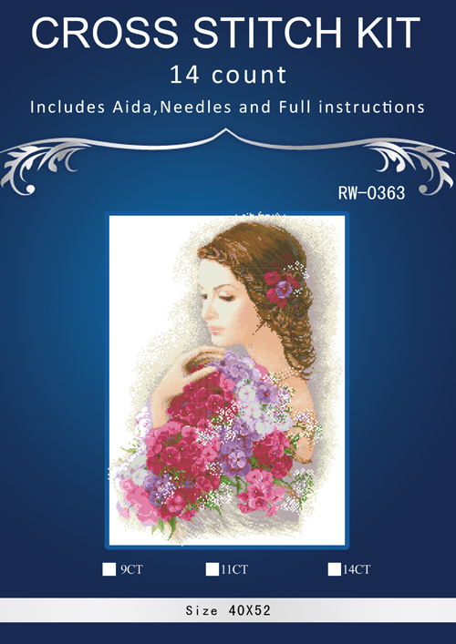 Oneroom Lady Hold Flowers,Counted Cross Stitch 14CT Cross Stitch Sets Wholesale Cartoon Cross-stitch Kits Embroidery Needlework