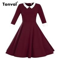 Tonval Vintage Peter pan Collar Dress Women Autumn Burgundy Plus Size Dresses Rockabilly 3XL Winter Dress