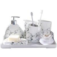 Imitasyon mermer seramik banyo aksesuarları seti sabunluk/diş fırçası tutucu/bardak/sabunluk seramik banyo ürünleri
