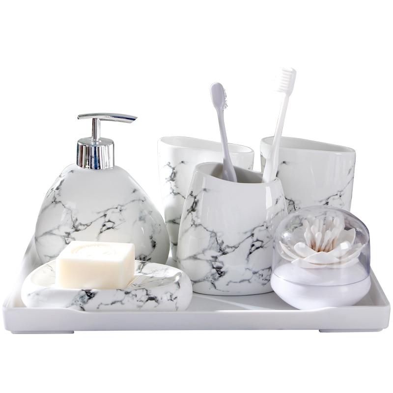 Imitation Marble Ceramic Bathroom Accessories Set Soap Dispenser/Toothbrush Holder/Tumbler/soap Dish Ceramic Bathroom Products