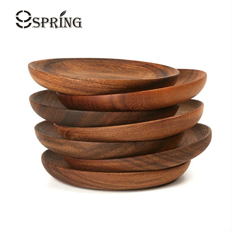 Set von 2 Akazienholz Runde Teller Kleine Natürliche Holz Serviertablett für Tapas,...