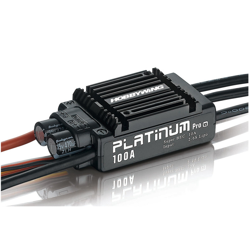 Hobbywing Platinum 100A V3 30203900 2-6S LiPo 480-550 Class RC Heli 3D brushless ESC 1pcs original hobbywing platinum 100a v3 high performance esc for align trex 550 600 700 rc helicopter fixed wing esc