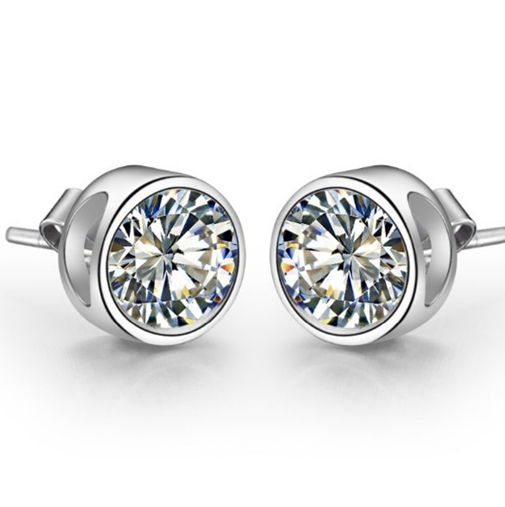 Stud-Earrings Diamond Wedding-Jewelry 14K Gold White Solid Luxury Round Women for Fancy