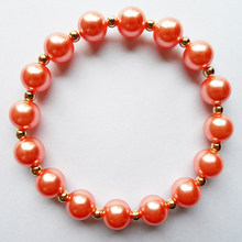 Good qualtity Pearl(10mm)+CCB bead Bridal bracelet jewelry,2019 new design Rose red pearl beads bracelet for wedding party gift(China)