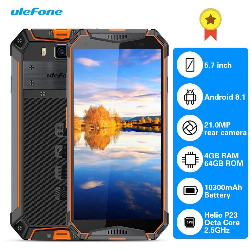 Ulefone Armor 3 4G Phablet 5.7 pouces Android 8.1 Octa Core 2.5 GHz 4 GB RAM 64 GB ROM 21.0MP caméra arrière capteur d'empreintes digitales 10300 mAh