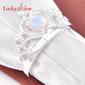 Promotion Shine Round White Fire Opal Silver Plated Wedding Crown Rings Russia USA Holiday Gift Rings Australia Rings