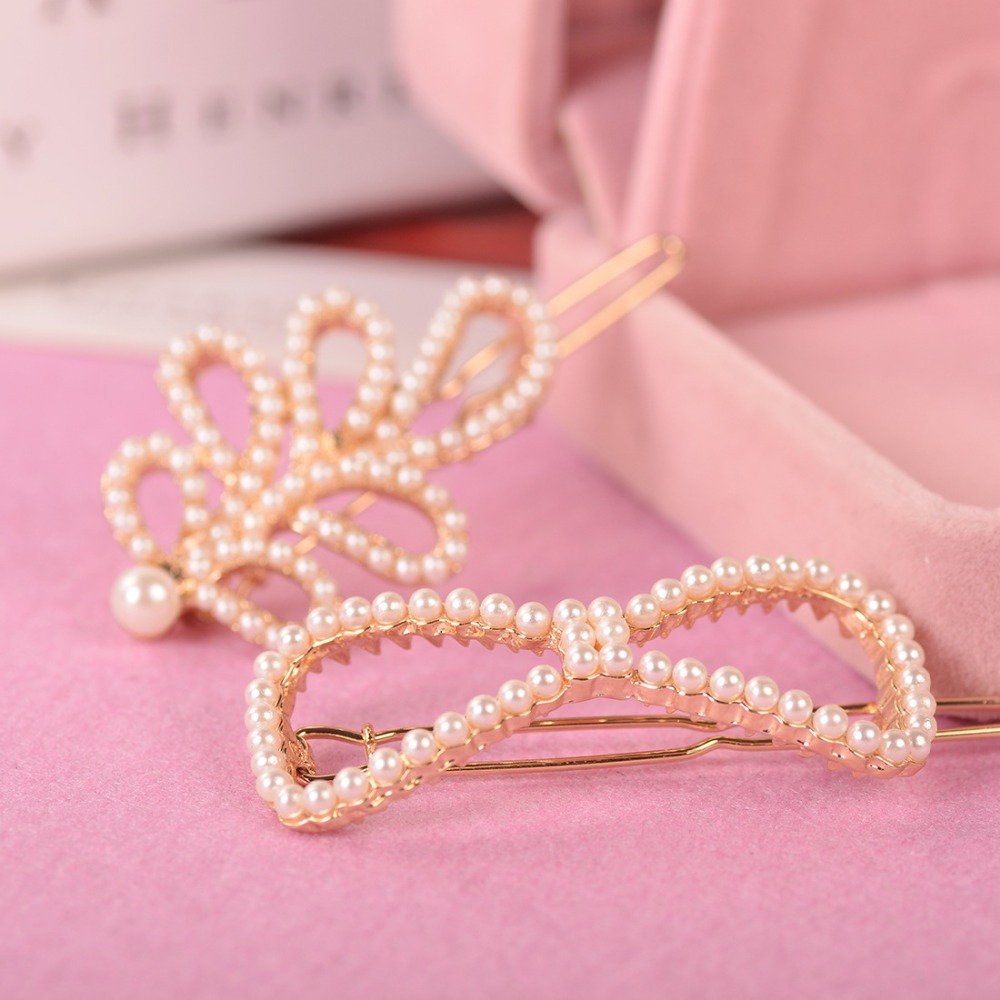 Crown Star Bow Heart Small Simulated Pearl Beads Hollow Golden Metallic Hair Clips and Pins Barrettes   Headwear   Women