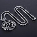 Punk Carved Round Celtic Knot triquetra Pendant Mens Boys Black Silver Tone 316L Stainless Steel Pendant Hollow Back DLHP529