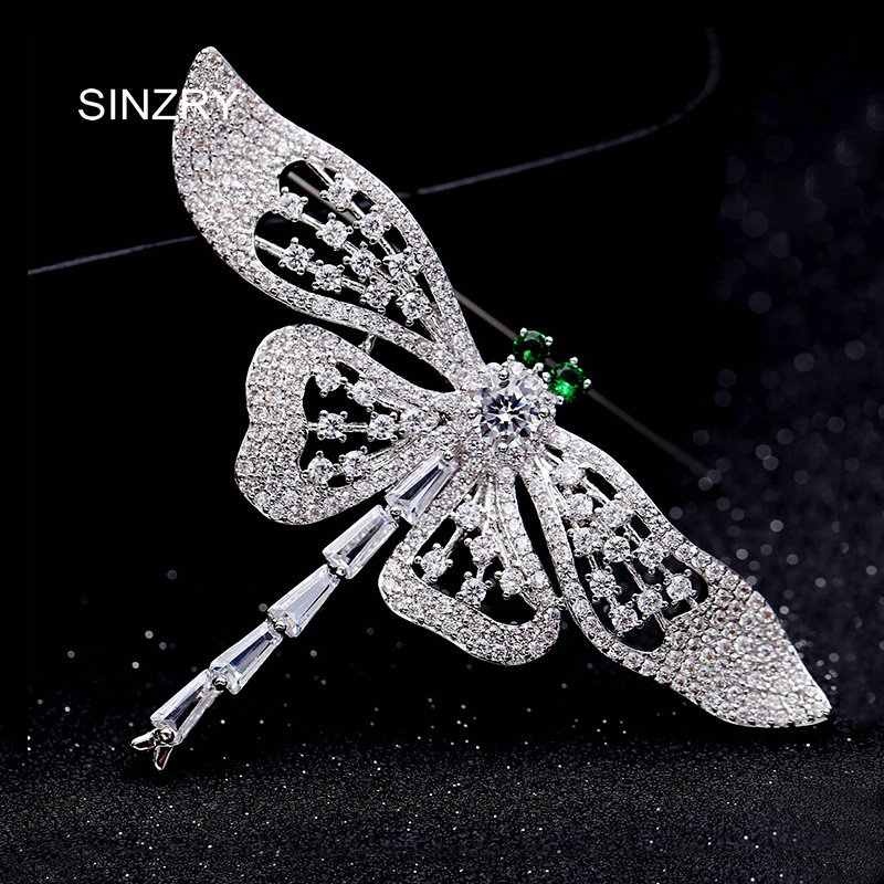 все цены на SINZRY personality jewelry AAA cubic zircon micro paved dragonfly insect brooches pin fashion jewellery gift