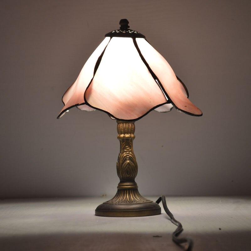 8 дюймов розовый цветок лотоса Тиффани настольные лампы страна Стиль пятнистости Стекло ночники E27 110-240 В