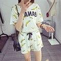 Летом Стиль женщин Набор Печати Банан Шорты Пижамы Наборы Ночной Рубашке Пижамы Плюс Размер M ~ XXL