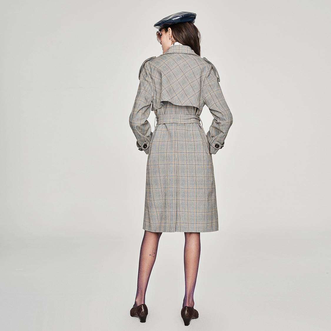 JAZZEVAR new 2019 Autumn Fashion Street Casual Women's Vintage plaid Double Breasted Trench coat Outerwear High Quality