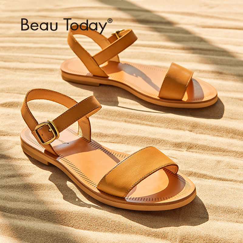 Ravne sandale za ženske BeauToday blagovna znamka pristno kravje usnjene pasice kakovostne poletne čevlje ročno izdelane 32040