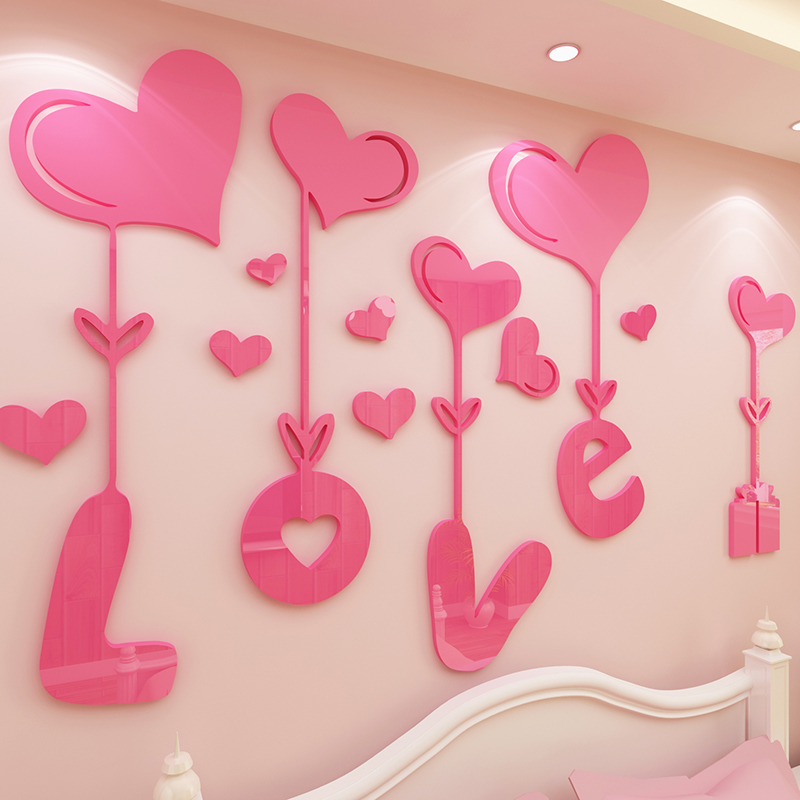 ②Love 3D Stereoscopic Crystal Acrylic Wall stickers Living room ...