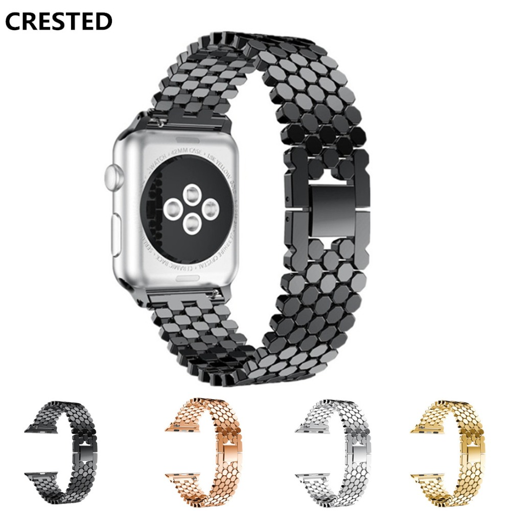 CRESTED Stainless Steel strap For Apple Watch 4 Band 44mm 40mm iwatch 4 3 2 1 42mm/38mm link Bracelet wrist watchband belt jansin strap band for apple watch 40mm 44mm 42mm 38mm for iwatch 3 2 1 stainless steel watch band link bracelet watchband strap