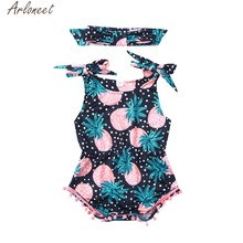 ARLONEET Baby Baby Boy & Meisje Ananas Print Jumpsuit Catsuit Bodysuit + Hoofdband Outfits Zomer Kleding Dropshipping 19Apr23 P35(China)