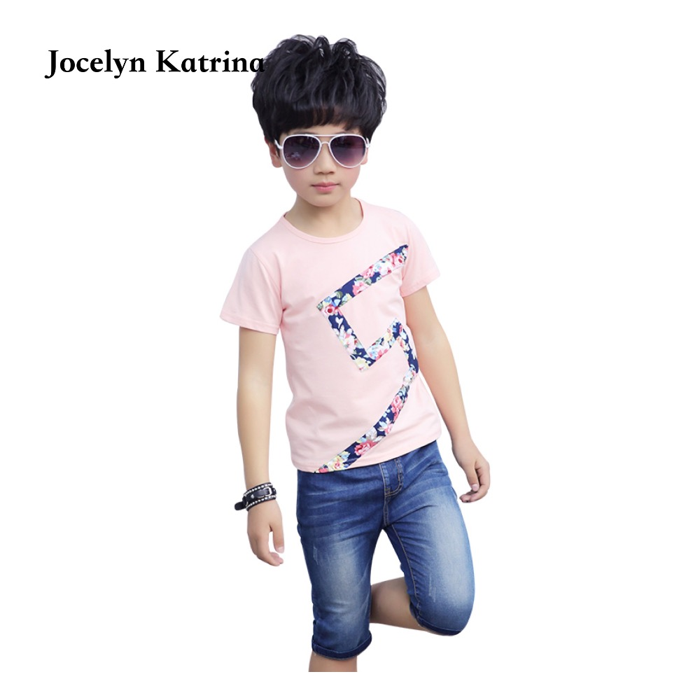 baby boys summer clothes newborn children clothing sets for boy short sleeve T-shirt + jeans cool denim shorts suit family fashion summer tops 2015 clothers short sleeve t shirt stripe navy style shirt clothes for mother dad and children