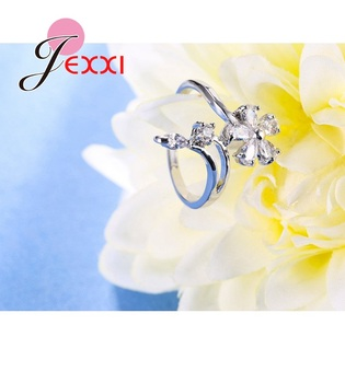 Original 925 Sterling Silver Jewelry for Women Wedding Bride Exquisite Flower Rings AAA+ Cubic Zirconia Female Bague 5