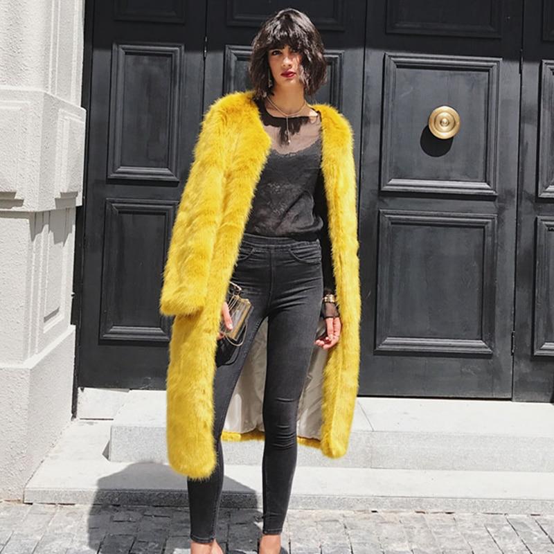 X Manteau De Hiver Pour Faux Artificielle Luxe Renard Fourrure Chaud Yellow Couleur Bouton Écharpes Femmes Les Lw62 Recouvert Manches Manteaux Unie Épais long Longues xwqI8S