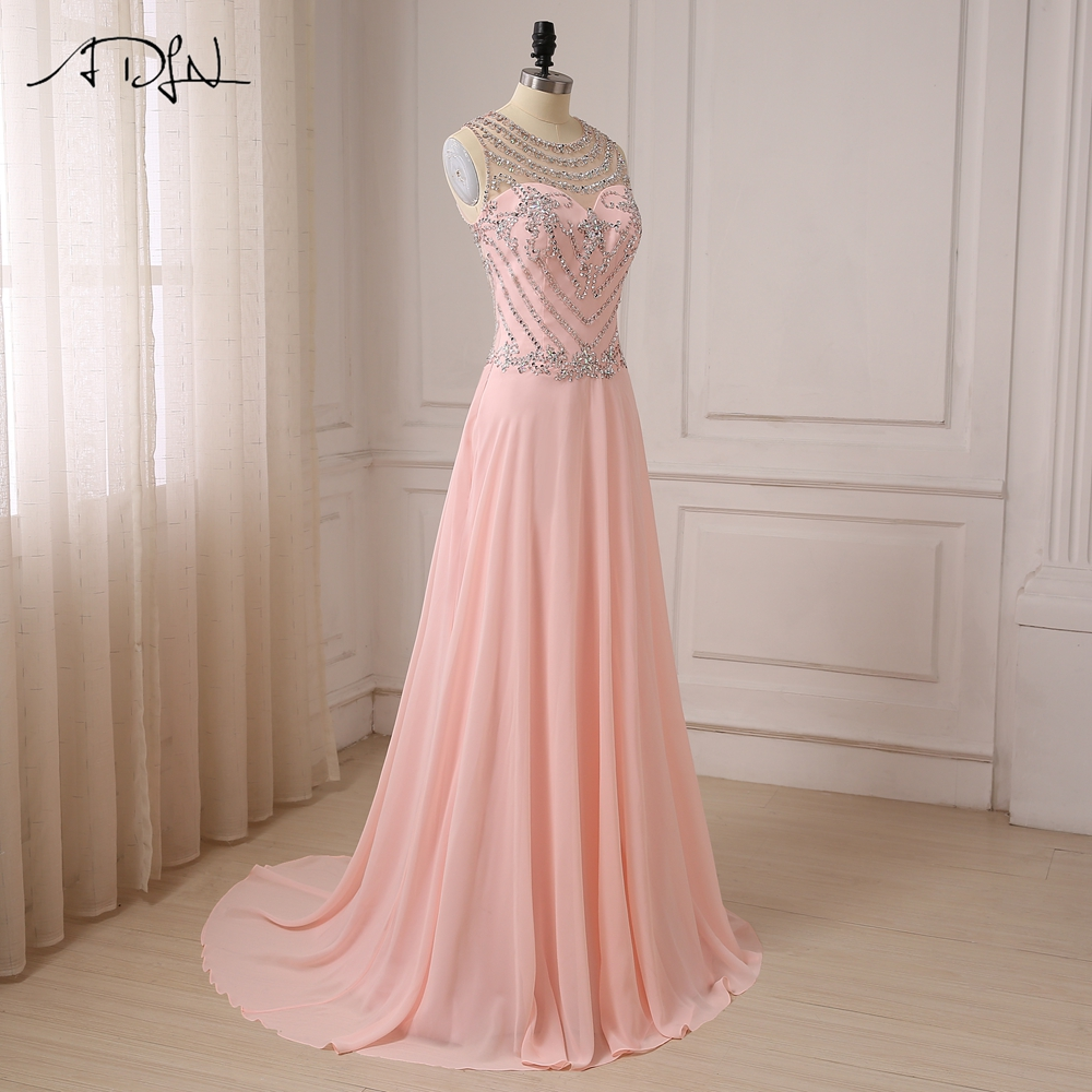 7e7677d40cf ADLN Luxury Stones Crystals Prom Dresses See-through Back Cap Sleeve Sexy  Party Evening Gowns