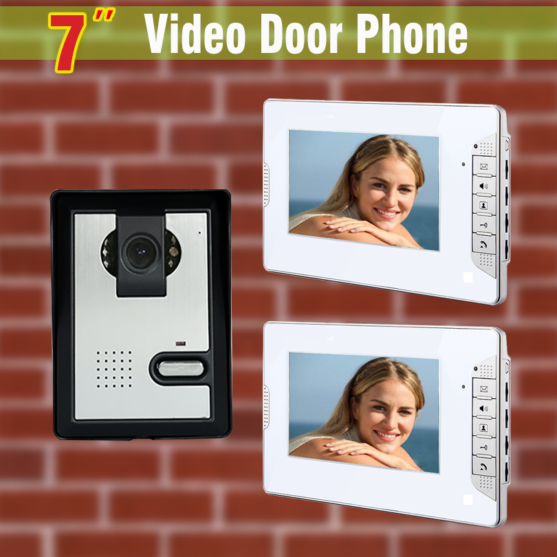 7 Inch Monitor Video Door Phone Intercom Doorbell Camera Video Intercom Home Door video intercom system 1-Camera + 2-Monitor
