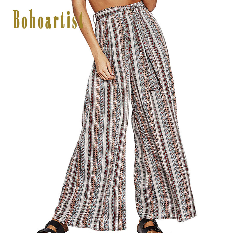 Bohoartist Boho Women Long Length   Wide     Leg     Pants   Daily Casual Drawstring   Pants   2018 Summer Chic Ethnic Striped Print Loose   Pants