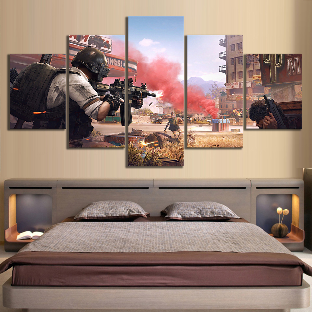 5 Piece Pubg Stimulate The Battlefield Video Game Poster HD Wall Pictures for Home Decor 1
