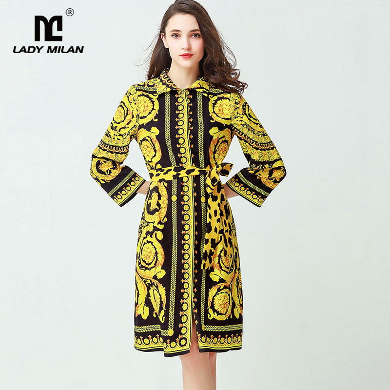 New Arrival 2018 Womens Turn Down Collar Long Sleeves Vintage Printed Floral Elegant Fashion Dresses