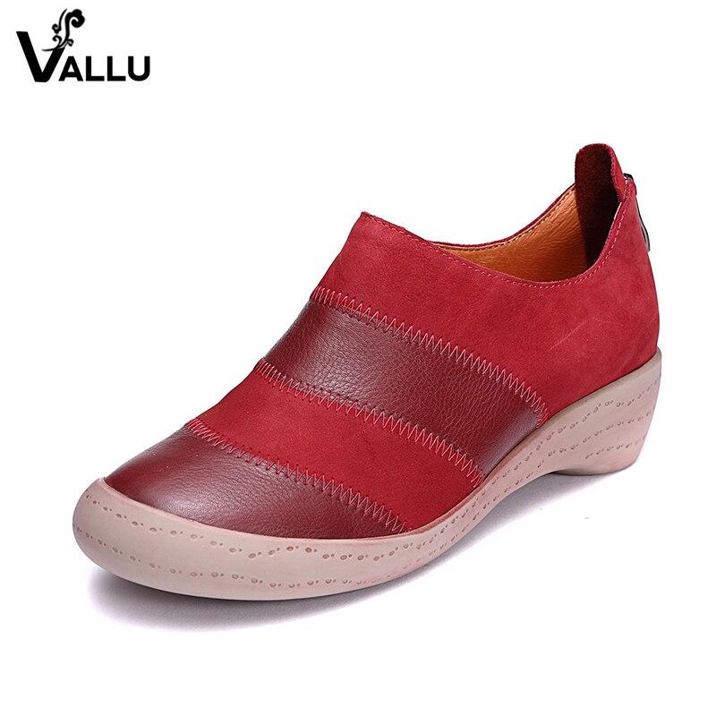 2018 סתיו חדש אמיתי עור נשים שטוח נעלי רוכסן גבירותיי קרסול מגפי עגול הבהונות מעורב צבע בציר מזדמן נשים דירות