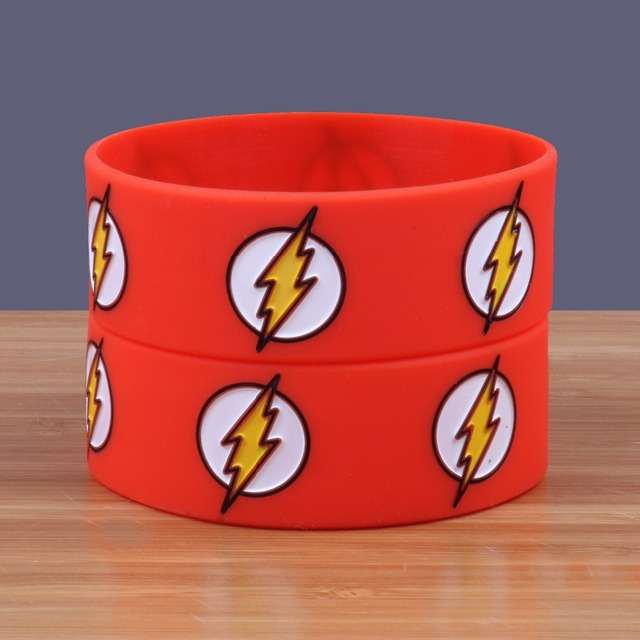 1 Piece The Flash Silicone Bracelets Inch Wide Size Movie Wristbands Custom Bands