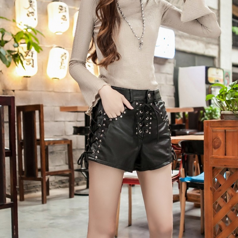 New Designer Rivet Lace Up Genuine Leather Shorts Women Luxury Sheepskin Real Leather Shorts Punk High Waist Ladies Streetwear - 5