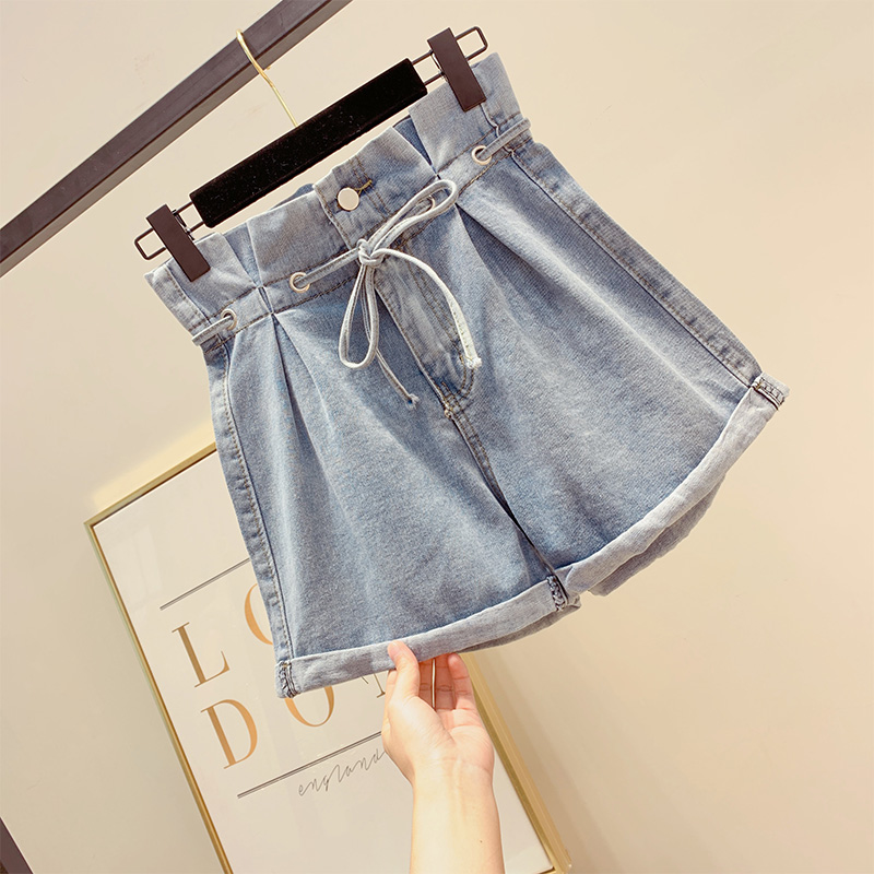 New High Waist Denim Shorts Women Summer Loose Lace-up Wide Legged Short   Jean   Female Cowboy Shorts Hot Pants Students Streetwear