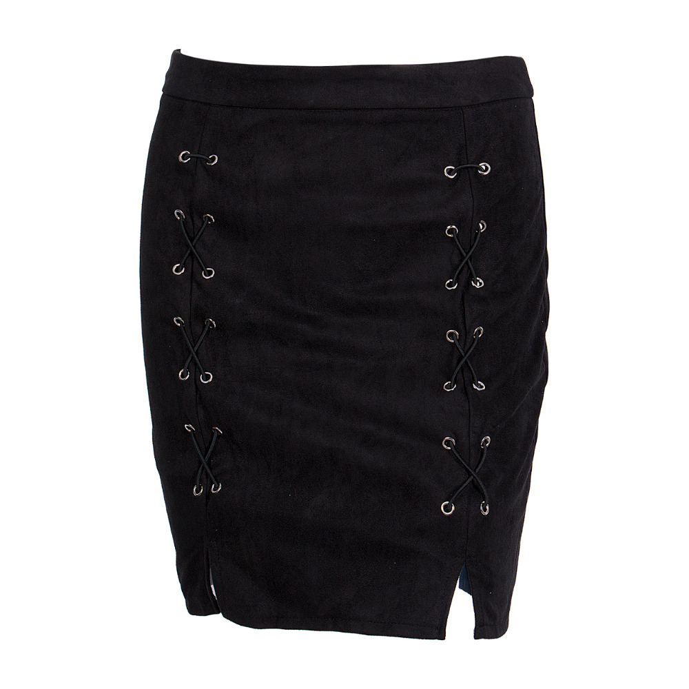 HTB1qdXYkX9gSKJjSspbq6zeNXXak - FREE SHIPPING Autumn winter lace up leather suede pencil skirt JKP298