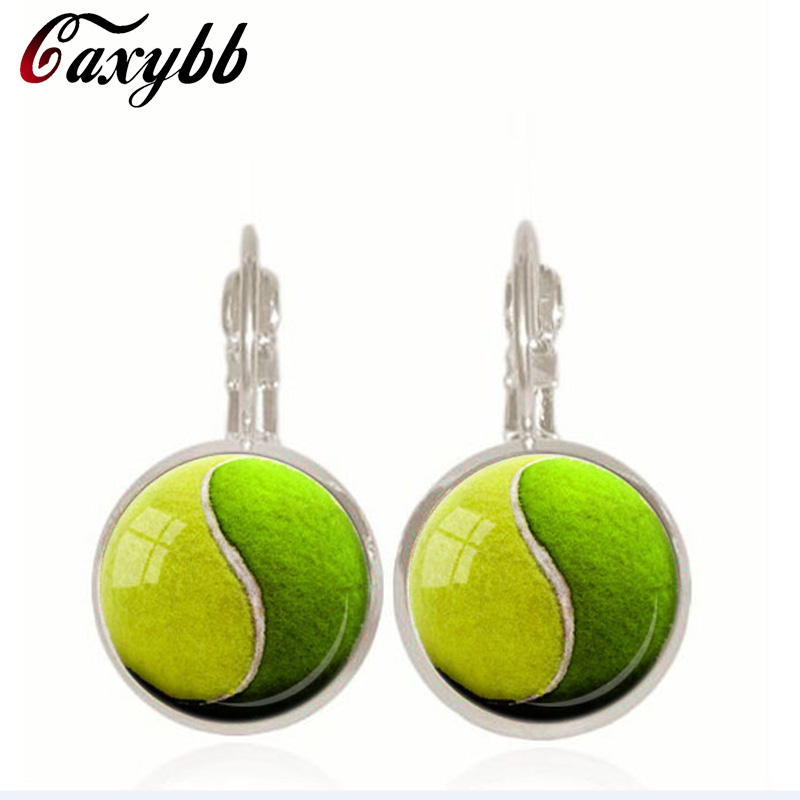 YIN YANG TENNIS Ball earrings handmade jewelry Tennis Lover Gift glass earring Green Yellow Sports earring accessories c-e339
