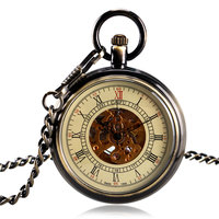 Vintage Bronze Open Face Automatic Mechanical Pocket Watch Roman Numerals Clock Time With 30cm Chain Fob