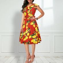 Fashion new womens summer dress lemon print high waist word collar large swing long sleeveless C850