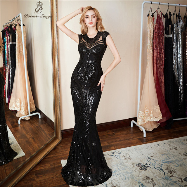 Poems Songs  New Personality Evening Dress vestido de festa Sexy Black Long Sequin prom gowns Formal Party dress