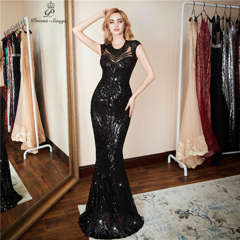 Poems Songs 2018 New Personality Evening Dress vestido de festa Sexy Black Long Sequin prom gowns Formal Party dress