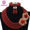 Vinho Africano Beads Jewelry Set 2017 de Casamento Nigeriano Africano Contas de Cristal Conjunto De Jóias de Noiva WB914 Borgonha Beads Frete Grátis