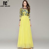Lady Milan 2019 Women's O Neck Long Sleeves Embroidery Sexy Tulle Laid Over Elegant Party Prom Maxi Formal Runway Dresses