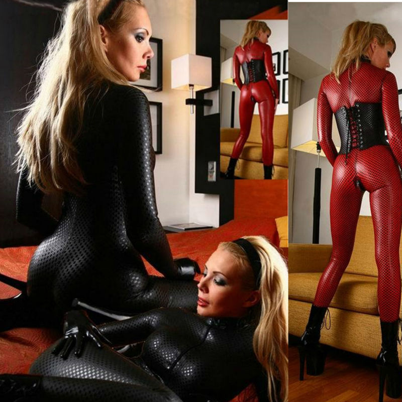 Vocole Sexy Double Zipper Sliders Spandex Vinyl Leather Catsuit Jumpsuit Bodysuit Clubwear Hen Partywear