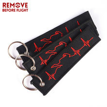 Biker Heartbeat Chain Keychain Fashion Chaveiro Para Moto Jewelry Embroidery Key ring for Car Motorcycle Chains 3pcs/lot