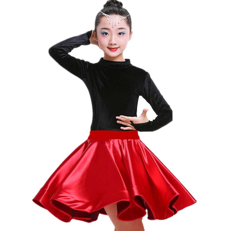 Новинка, бархатный латинский танцевальный костюм для девочек, одежда для спортивной гимнастики, танго, сальсы, бальная юбка для девочек