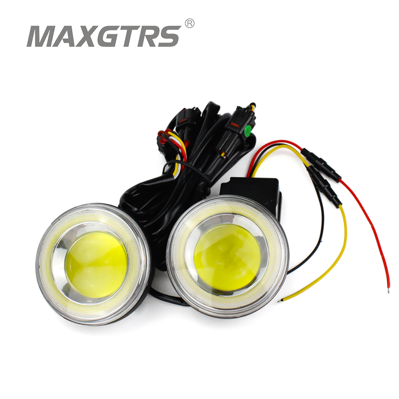 2x Universal 2.5 3.5 inch Auto COB LED Angel Eyes Daytime Running Light DRL Car Fog Light Assembly Foglamp For Nissan Toyota 2x 3 inch 76mm round led cob projector fog light lamp bulbs with green angel eyes halo ring drl daytime running lamp car auto