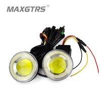 2x Universal 2 5 3 5 Inch Auto COB LED Angel Eyes Daytime Running Light DRL