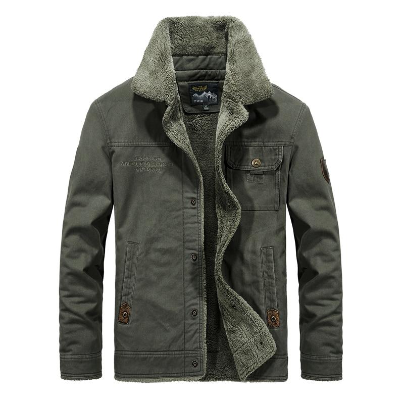 Big Size M-6XL Fashion Winter Jacket Men Classical Thick Velvet Warm Jackets Army Green Military Outwear Cargo Coats Parka Men